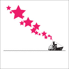Abstract vector illustration with steamship and stars,. Place fo