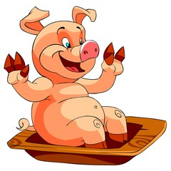 Happy Smiling pig at the trough