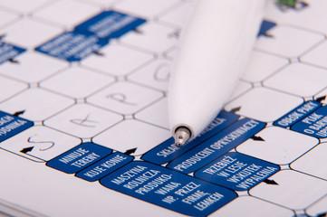 Crossword and pen