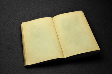 Ancient opened blank book on dark red..