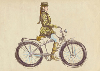 weighted lady on bike - a hand drawn illustration