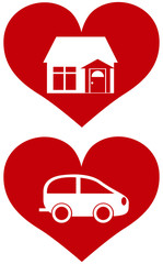 Red Heart with House and Car Illustration