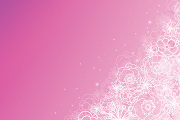 Vector pink glowing flowers magical horizontal background with