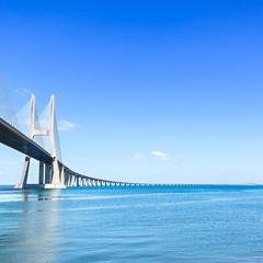 Vasco da Gama bridge on Tagus River. Lisbon, Portugal, Europe.