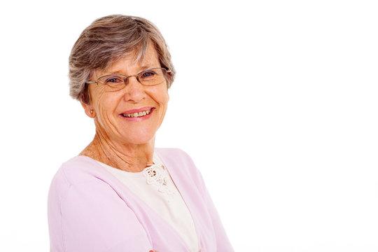 senior woman isolated on white background