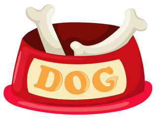 illustration of isolated dog bowl with big bone vector