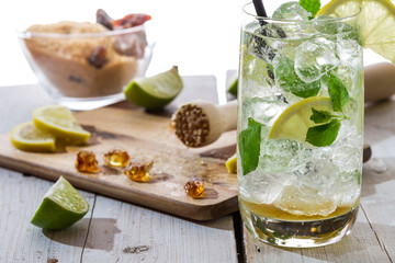Ingredients for fresh mojito with ice