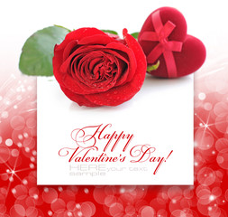 Red velvet Heart-shaped Gift Box and rose on a festive backgroun