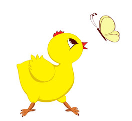 Abstract image of chick with butterfly