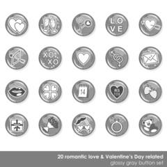 Obraz romantyczny zestaw błyszczących szarych ikon miłość walentynki - fototapety do salonu