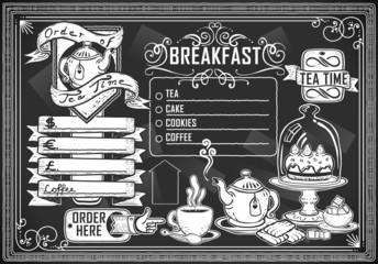 vintage graphic element for bar menu vector on blackboard