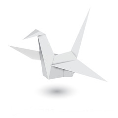 Canvas Prints Geometric animals Illustration of origami crane isolated on white background