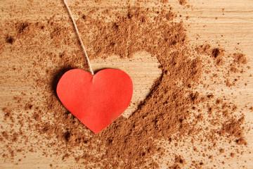 Heart shape made ??of cocoa