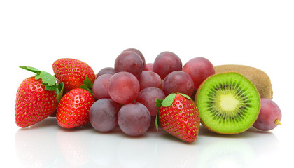 Fresh fruits and berries isolated on white background