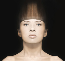 Girl with an unusual hairstyle