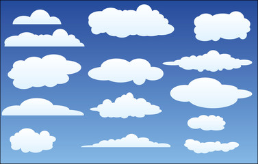Vector design set of clouds in the sky