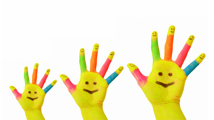 Father, mother, baby colorful painted hands with smiley face