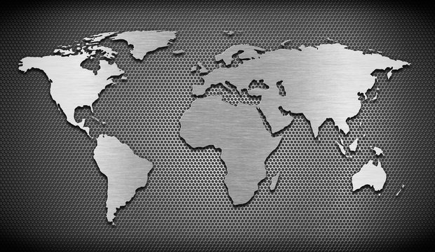 metal world map on grate comb background