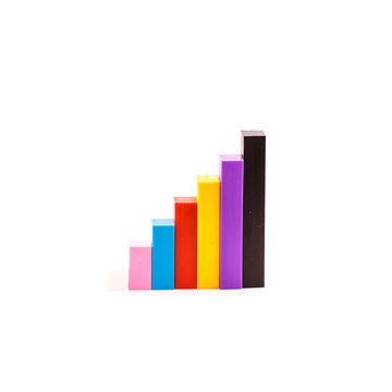 Color diagram chart of coloured sticks