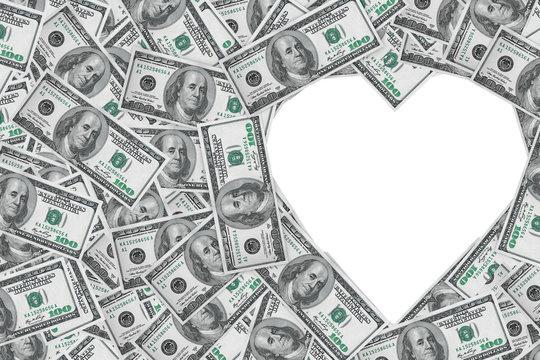 Heart symbol from money