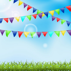 Holiday ackground with grass and pennant
