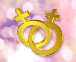 Union of gay, lesbian, female symbol