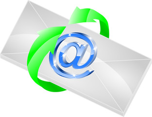 e mail i zielone strzałki