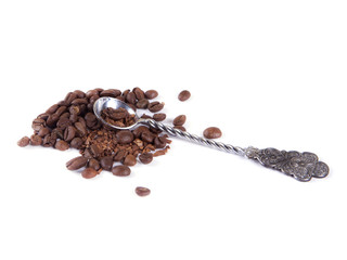 composition of coffee beans and a spoon