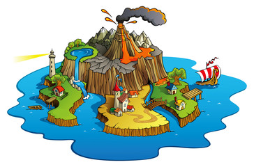 Poster Castle Wonder island with town and villages, vector