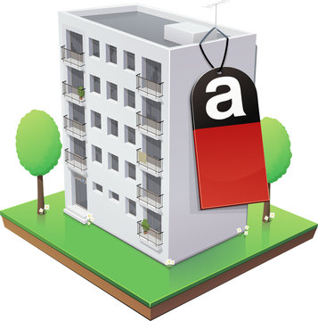 Immeuble  et son étiquette amiante (reflet)