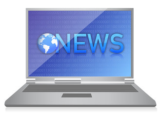 laptop showing NEWS on screen