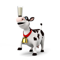 Poster Ranch 3d rendered illustration of a toon cow