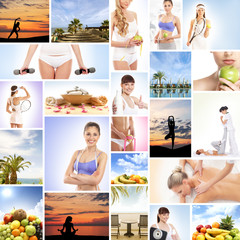 A collage of images with women and fresh tasty fruits
