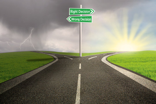 Road sign of right vs wrong decision