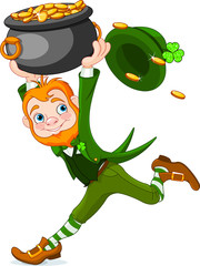 Canvas Prints Fairytale World Running Leprechaun