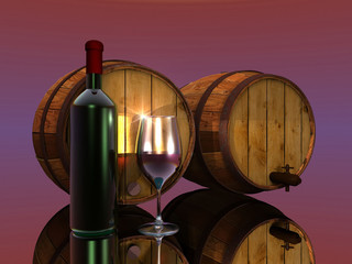 wine, barrels, glass and bottle