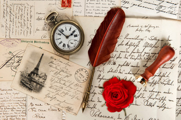old letters, french post cards, antique feather pen