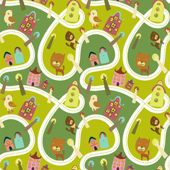 Foto auf Leinwand Auf der Straße Road seamless pattern with houses and animals