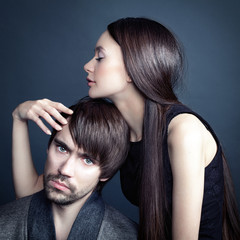 Studio portrait of people in love