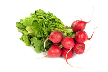 A bunch of fresh radishes isolated on white