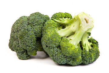Single broccoli floret isolated on white