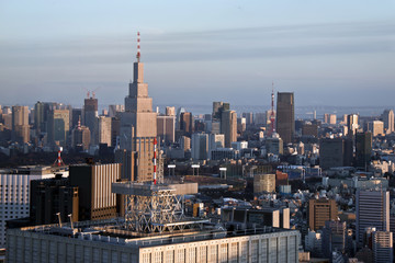 tokyo aerial view at sunset