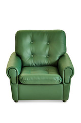 green leather armchair front