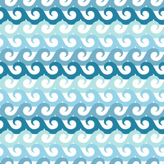 Waves Water Seamless Pattern Blue