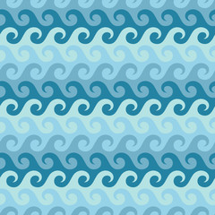 Waves Water Seamless Pattern Retro Blue