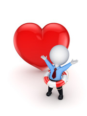 3d smal person with a lifebuoy and red heart.