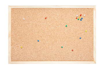 Cork board with pins isolated on white, clipping path included