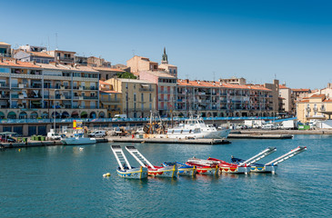 Port de Sète avec les bateaux des joutes, Hérault, Occitanie en France Wall mural