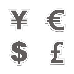 currency sticker sets - black colour
