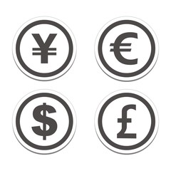 currency circle sticker sets